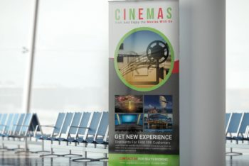 Cinema Hall Rollup Banner PSD Mockup Available for Free