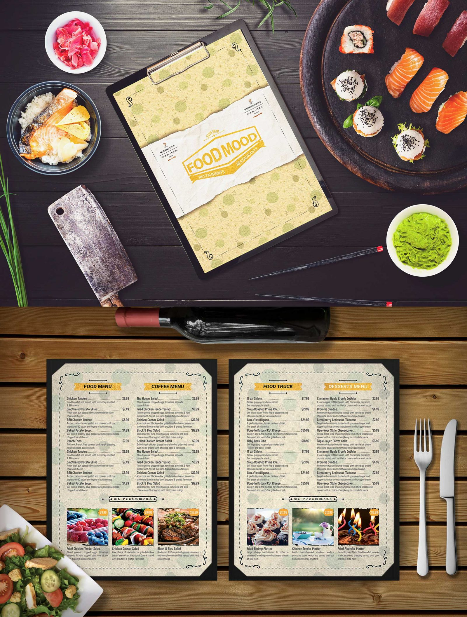 Cafe Menu Card Psd Mockup Download For Free Designhooks