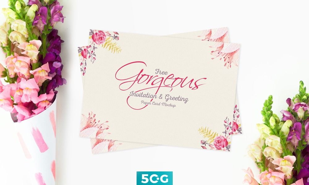 invitation greeting card psd mockup download for free