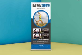 Gym Roll Up Banner PSD Mockup Available for Free