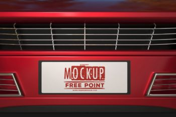 Car Plate Design PSD Mockup for Free