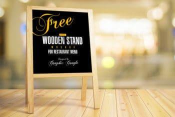 Wooden Stand Menu Mockup for Restaurant Promotion