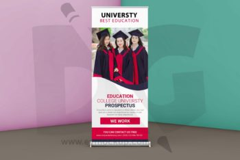 Education Related Roll Up Banner PSD Mockup Available for Free