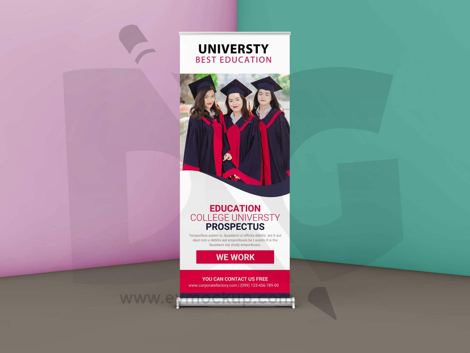 education roll up banner psd mockup download for free