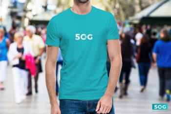 Blue Colored Simple & Sober Men T-shirt PSD Mockup