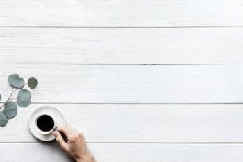 Free Black Coffee Plus Design Space Mockup in PSD