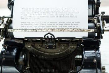 Free Functioning Old Typewriter Scene Mockup