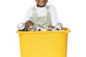 Free Child Plus Trash Bin Mockup in PSD