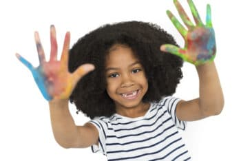 Free African American Girl Plus Hand Painting Mockup