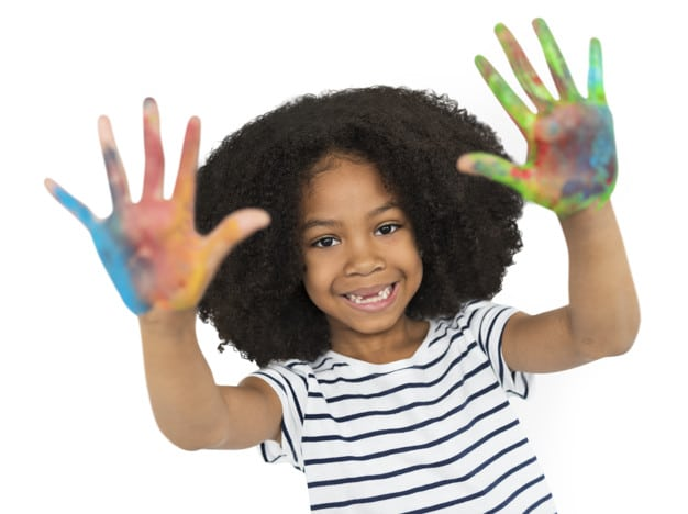 African American Girl Plus Hand Painting