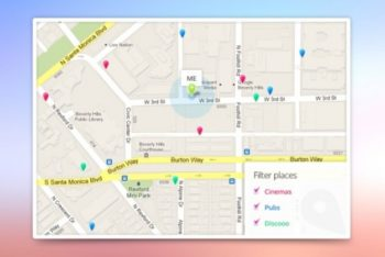 Free Google Maps Template Mockup in PSD