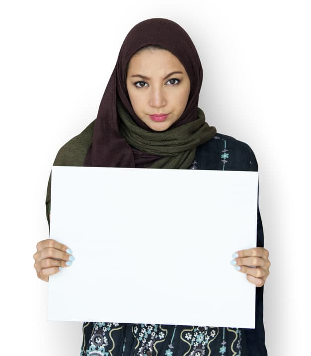 Arab Woman Holding Blank Board