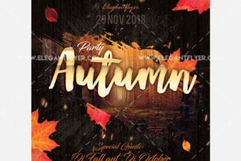 Autumn Party Flyer PSD Mockup for Free