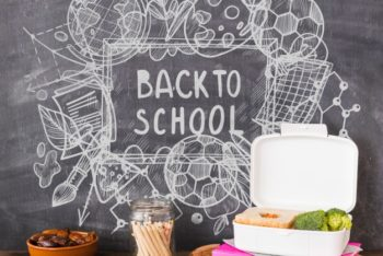Free School Lunch Plus Blackboard Scene Mockup