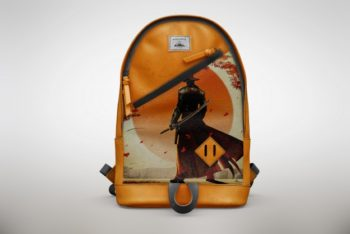 Free Cool Orange Backpack Mockup in PSD