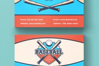 Free Baseball Business Card Mockup in PSD