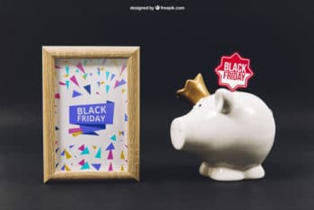 Free Black Friday Plus Piggy Bank Mockup in PSD