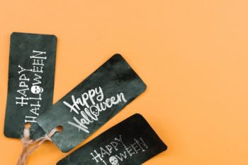 Free Black Halloween Tag Mockup in PSD
