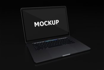 Free Elegant Black Laptop Mockup in PSD