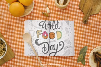 Free World Food Day Cooking Book Mockup in PSD