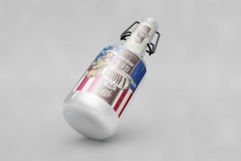 Free USA Flag Bottle Mockup in PSD