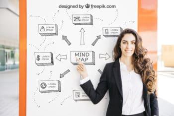 Free Business Presentation Plus Woman Mockup