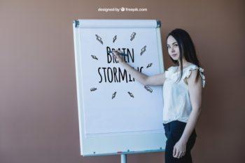 Free Businesswoman Brainstorming Plan Mockup