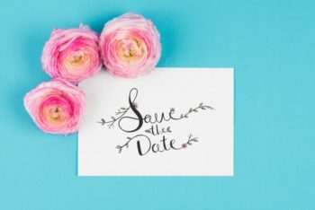 Free Date Card Plus Roses Mockup in PSD