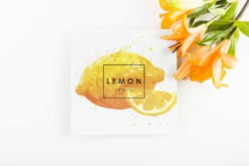 Free Tropical Lemon Concept Mockup in PSD