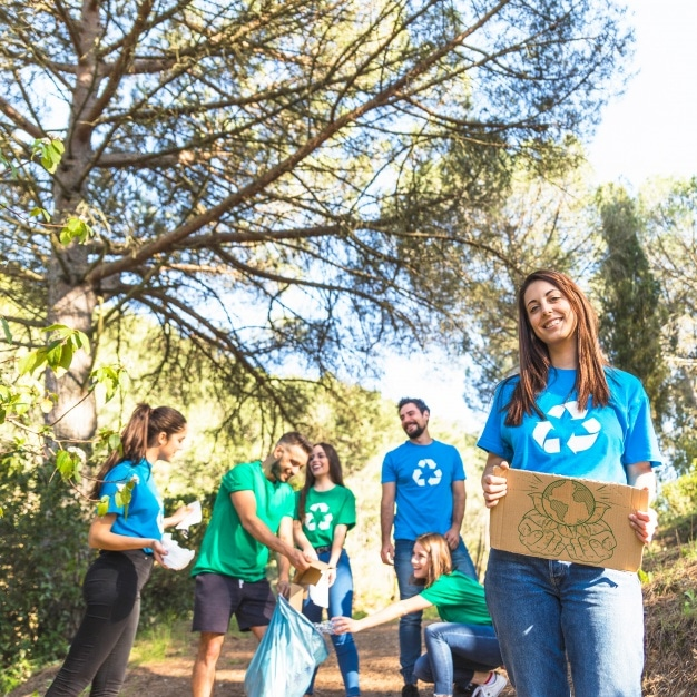 Eco Volunteers Plus Recycling Scene