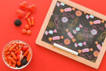 Free Halloween Candy Plus Chalkboard Mockup in PSD