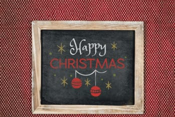 Free Happy Christmas Chalkboard Mockup in PSD