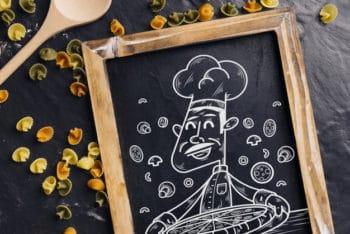 Free Chalkboard Plus Pizza Chef Mockup in PSD