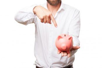 Free Thrifty Man Plus Piggy Bank Mockup