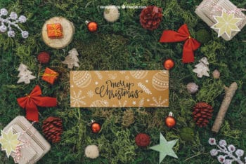 Free Merry Christmas Banner Mockup in PSD