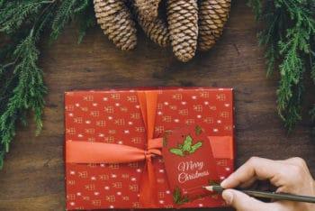Free Christmas Gift Handwriting Mockup in PSD