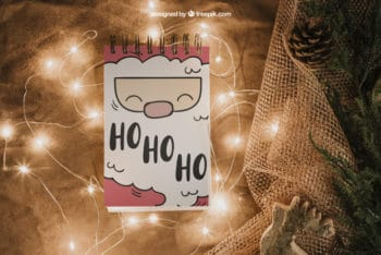 Free Cute Santa Claus Notepad Mockup in PSD