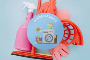 Free Cleaning Materials Scene Mockup in PSD