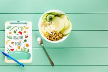 Free Healthy Fruit Breakfast Mockup in PSD
