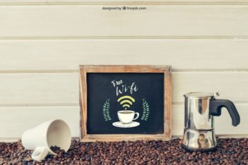 Free WiFi Coffee Shop Slate Mockup in PSD