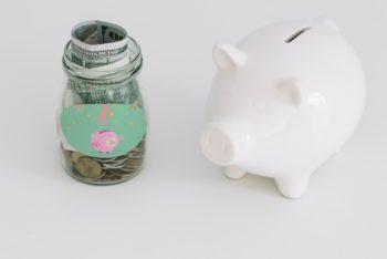 Free Savings Money Plus Piggy Bank Mockup