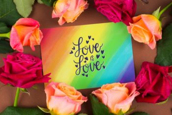 Free Colorful Card Plus Roses Mockup in PSD