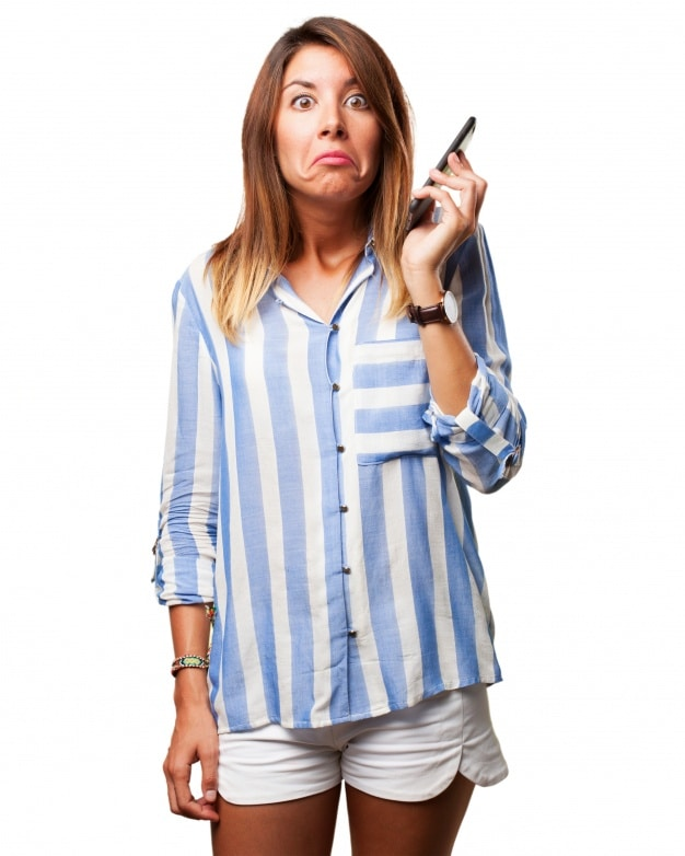 Confused Woman Plus Phone