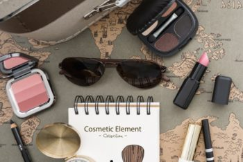 Free Travel Cosmetic Essentials Mockup in PSD