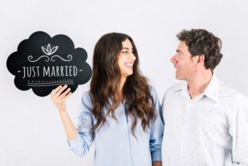 Free Just Married Couple Mockup in PSD