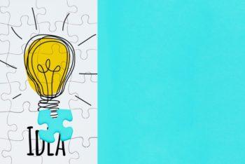 Free Creative Jigsaw Concept Mockup in PSD