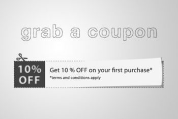 Free Coupon Design Cutout Mockup in PSD