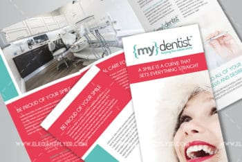 Tri-fold Brochure PSD Mockup for Dental Clinic Promotion