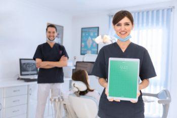 Free Dentist Plus Tablet Mockup in PSD