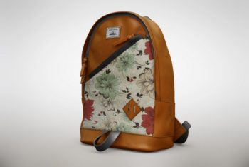 Free Floral Backpack Design Mockup in PSD